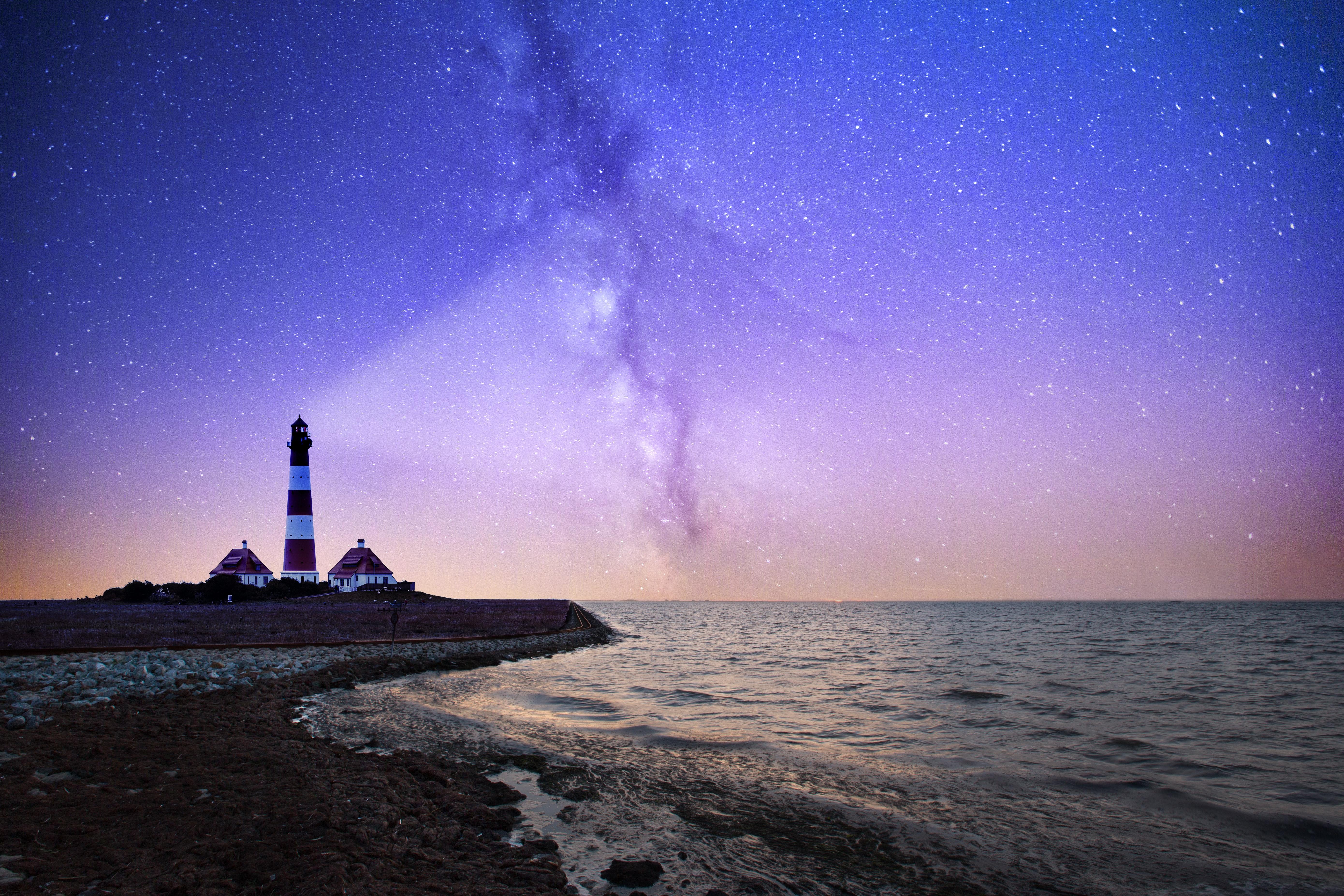 Coastal scene with a lighthouse